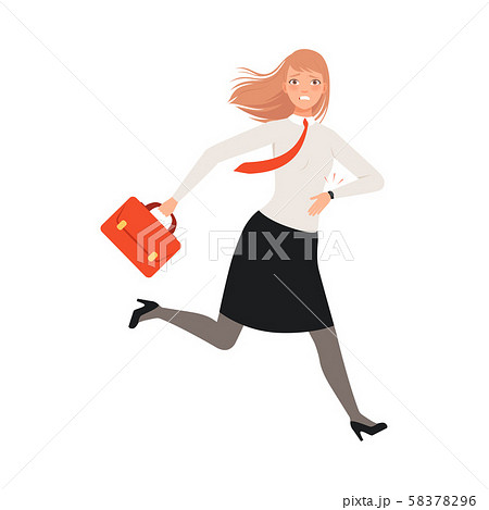 Businesswoman Running With Case character Illustration Vector 58378296