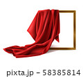 Red silk cloth cover wooden photo frame isolated 58385814