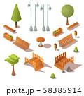 Isometric park set. Benches, trees, wooden bridges 58385914