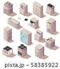 Isometric kitchen restaurant appliances furniture 58385922