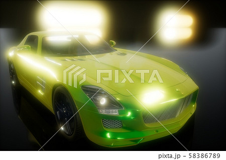 luxury sport car in dark studio with bright lights 58386789
