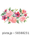 Rose bouquet floral botanical flowers. Watercolor background set. Isolated bouquets illustration 58388231