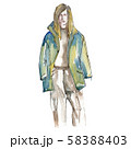 Man in jacket sketch glamour illustration in a watercolor style isolated element. Watercolour 58388403