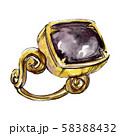 Ring with gemstone sketch glamour illustration in a watercolor style isolated element. Watercolour 58388432