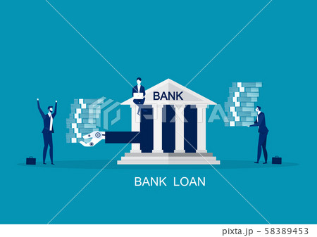 Business Loan Offer, Bank Investments Proposal, Refinancing Opportunity Flat Vector Concept. Businessman, approve cash from bank 58389453
