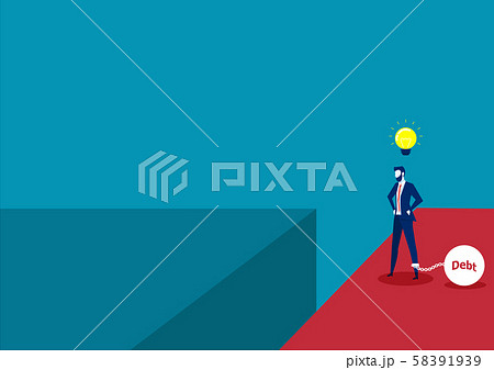 Businessman thinking Release debt way on cliff and weigh down by metal ball and chain with word debt chained on his feet. think across new location Vector illustration 58391939