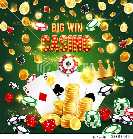 Casino win, poker aces, dice, chips and gold coins 58393449