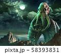 Tentacled horror scene 3D illustration 58393831