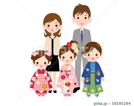 七五三5 家族 記念写真  お正月 58395264