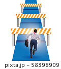 Businessman facing running barriers in challenging business 58398909