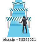 Businessman facing running barriers in challenging business 58399021