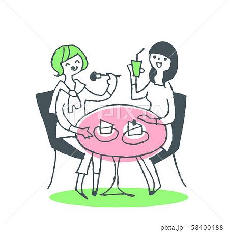 カフェでケーキを食べる女性ふたり 58400488