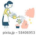 花に水やりをする女性 ピンク 58406953
