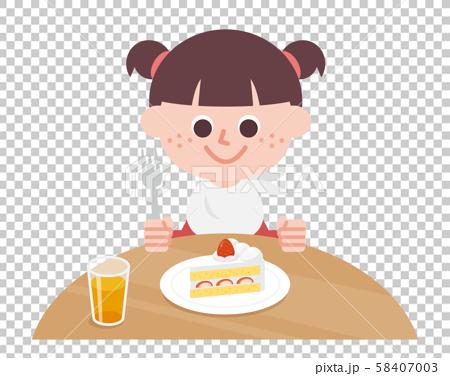 Girl eating shortcake 58407003