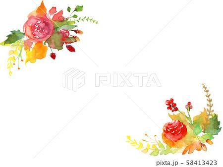 水彩で描いた薔薇のイラスト 58413423