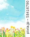 自然風景 花畑 空 水彩 58416790