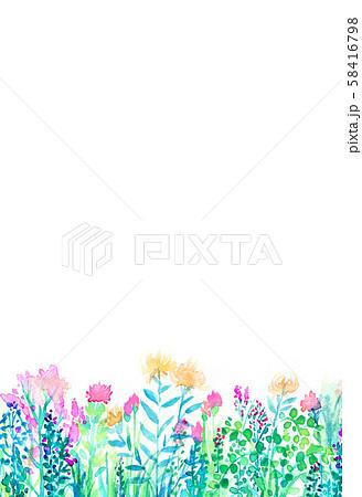 自然風景 花畑 空 水彩 58416798