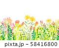 自然風景 花畑 空 水彩 58416800