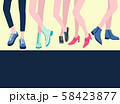 five pairs of female legs in the shoes stylish 58423877