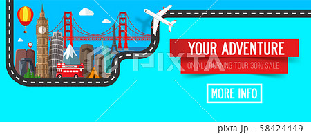 Colorful travel composition. Travel and Tourism banner. 58424449