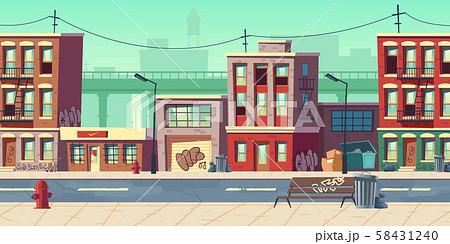 Dirty city street, empty ghetto slum neighborhood 58431240