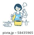 調理をする主婦 ブルー 58435965