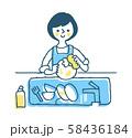 家事 食器洗いをする女性 ブルー 58436184