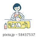 家事 食器洗いをする女性1 58437537