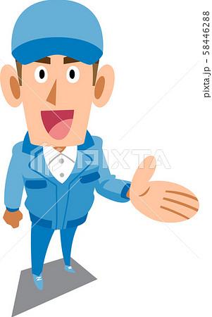 提案する青い作業服の男性 58446288