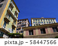 Colorful buildings and beach at Camogli on sunny summer day, Liguria 58447566