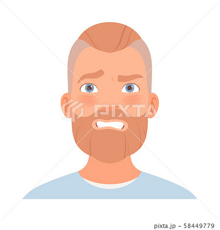 Fear on the face of a man with a beard. Vector illustration. 58449779