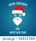 Merry Christmas greeting card template. 58452369