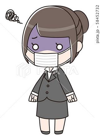 マスクをしている気分が優れないスーツの女性 58452732