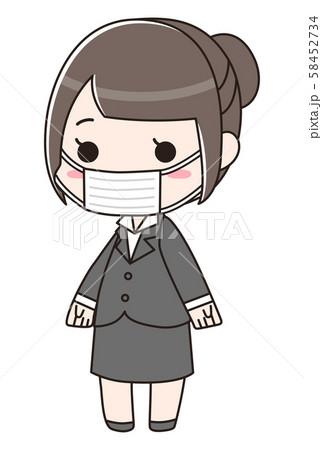 マスクをしているスーツの女性 58452734