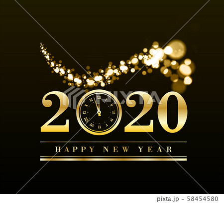 Happy New Year 2020 with gold particles and a clock in the number zero. Vector golden illustration 58454580