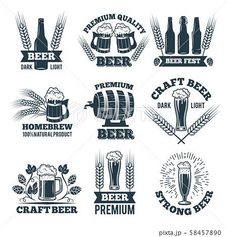 Labels or badges set of beer. Elements for emblem or logo design 58457890