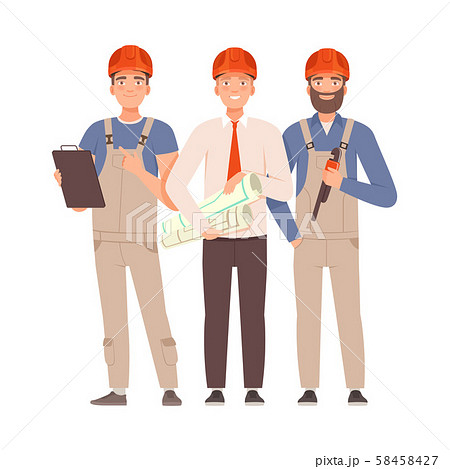 Engineer and two builders with tools. Vector illustration. 58458427