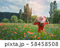 Lovely young romantic woman in straw hat on poppy flower field posing on background summer. Wearing 58458508