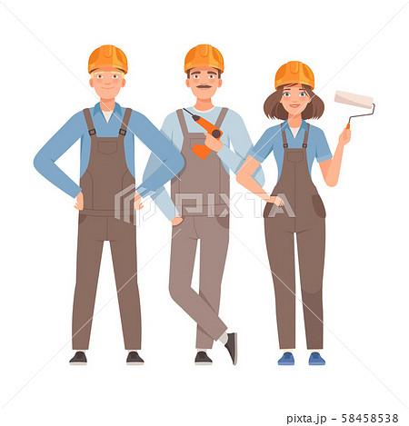 Three builders in gray overalls. Vector illustration. 58458538