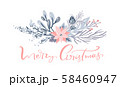 Merry Christmas greeting card design with floral wreath decoration and hand written calligraphic 58460947