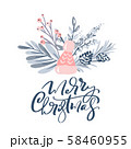 Merry Christmas greeting card design with floral wreath decoration and hand written calligraphic 58460955