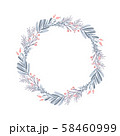 Christmas vector wreath and red berries on evergreen branches with place for text. Isolated xmas 58460999