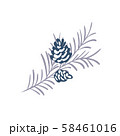 Hand drawn Christmas vector element of pine cone with branch and place for your text. Concept xmas 58461016