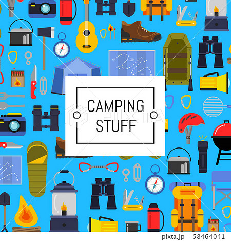 Vector flat style camping background illustration 58464041