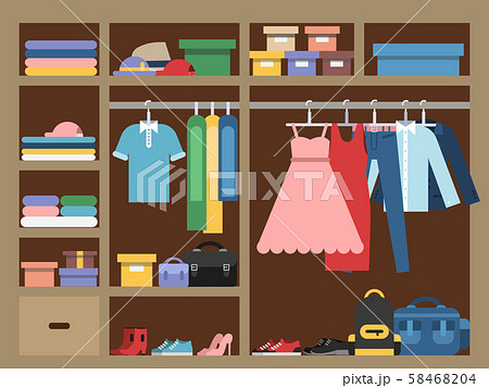 Large wardrobe with different clothes. Vector illustration in flat style 58468204