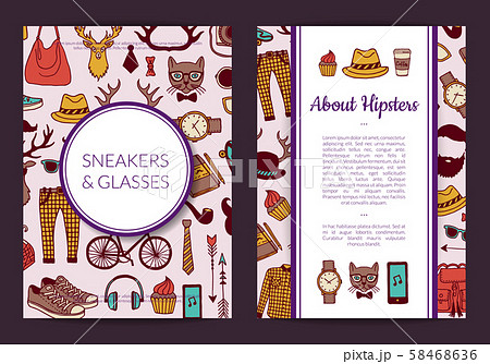 Vector hipster doodle icons card, flyer or brochure template illustration 58468636
