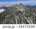 北アルプス 北穂高岳山頂からの風景 槍ヶ岳からの大キレット縦走路を望む 58474580