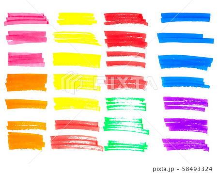 Vector color highlighter brush lines. Hand drawing. Vector illustration 58493324