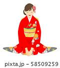 座っている赤い振袖を着た女性 01 58509259