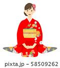 座っている赤い振袖を着た女性 03 58509262
